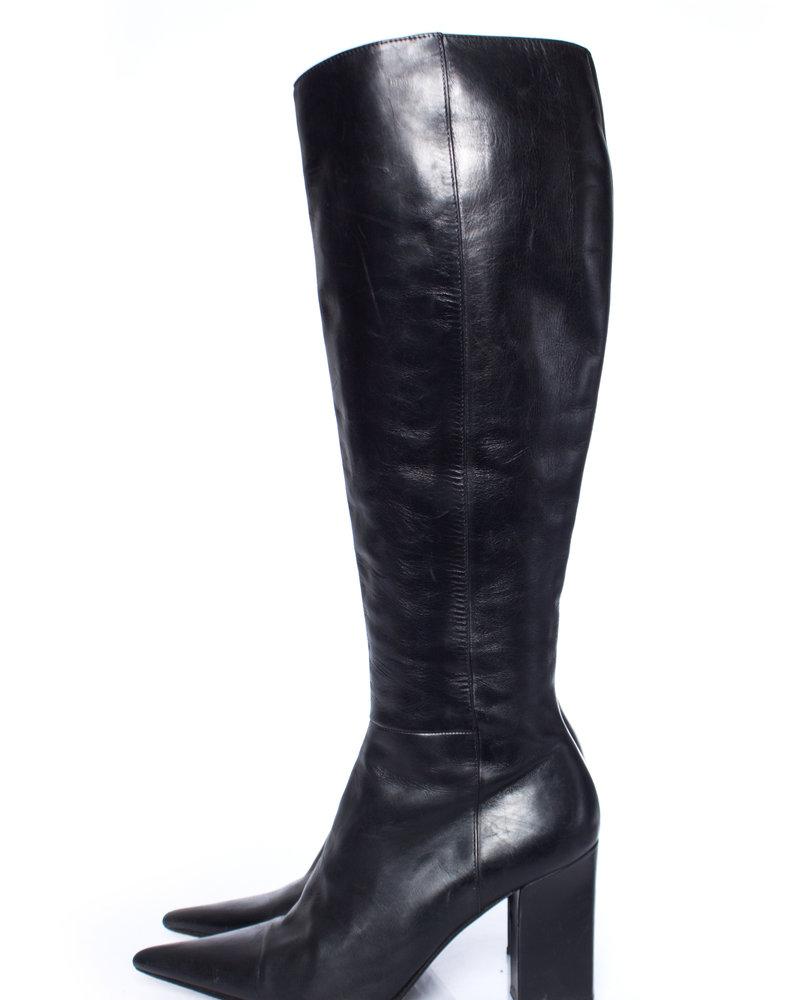 Michel Perry, zwarte lederen laarzen met punt in maat 37.