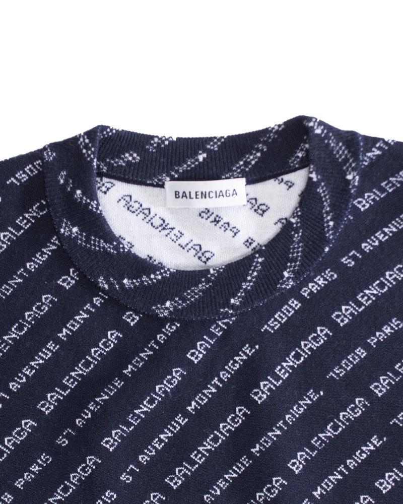 Balenciaga Balenciaga, Crew neck Monogram wool blend sweater in size 34/XS.