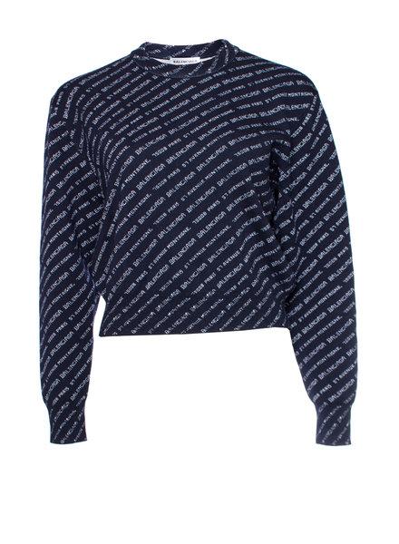 Balenciaga Balenciaga, Crew neck Monogram wool blend sweater.