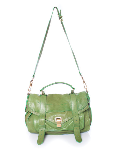Proenza Schouler Proenza Schouler, Ps1 Medium Kelly green leather satchel.