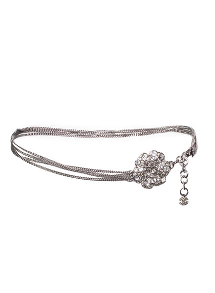 Chanel Chanel, Chain belt/necklace with rhinestone Camellia.