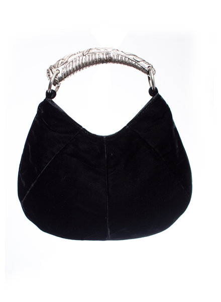 Yves Saint Laurent Yves Saint Laurent, Black velvet mini Mombasa bag with silver handle.