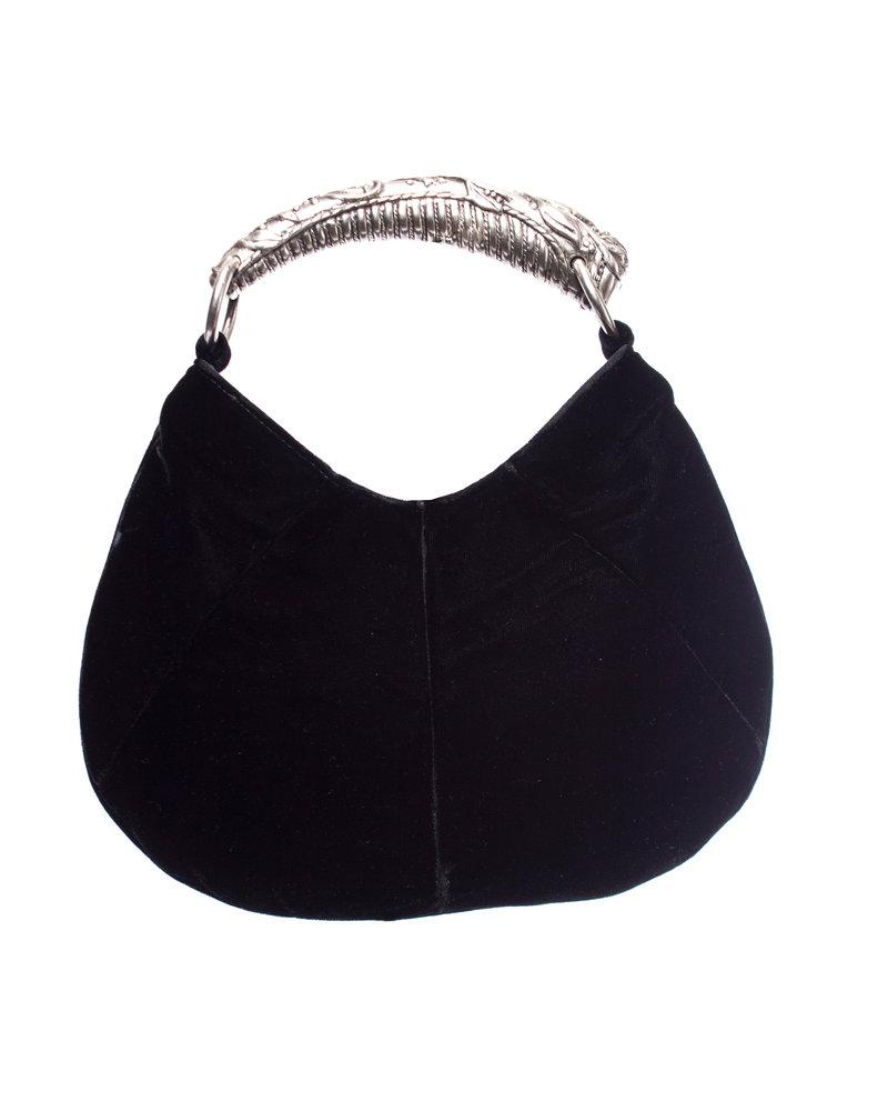 Yves Saint Laurent Yves Saint Laurent, zwart fluwelen mini Mombasa tas met zilveren handvat.
