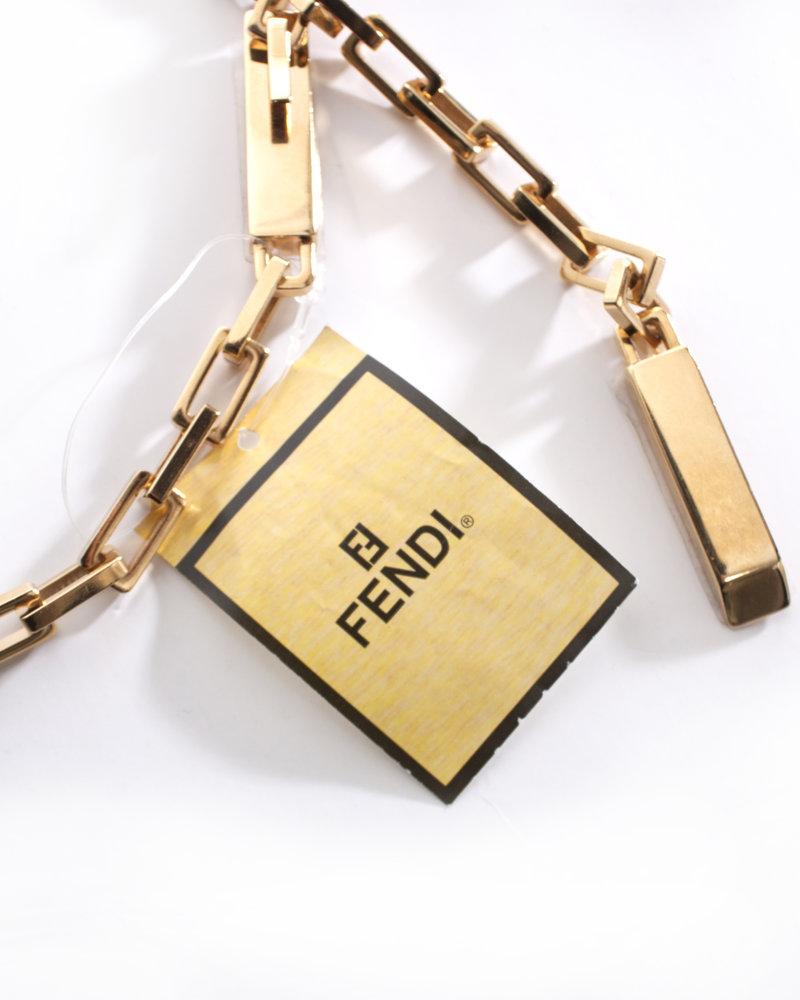 Fendi Fendi, goudkleurige metalen kettingriem.