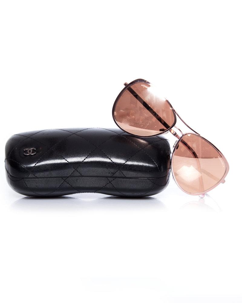Chanel Chanel, Rose gold mirrored pilot sunglasses.