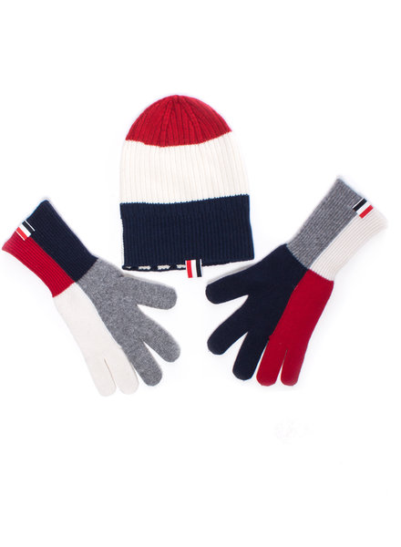 Thom Browne, Cashmere beanie and gloves in blue/red/white/grey.