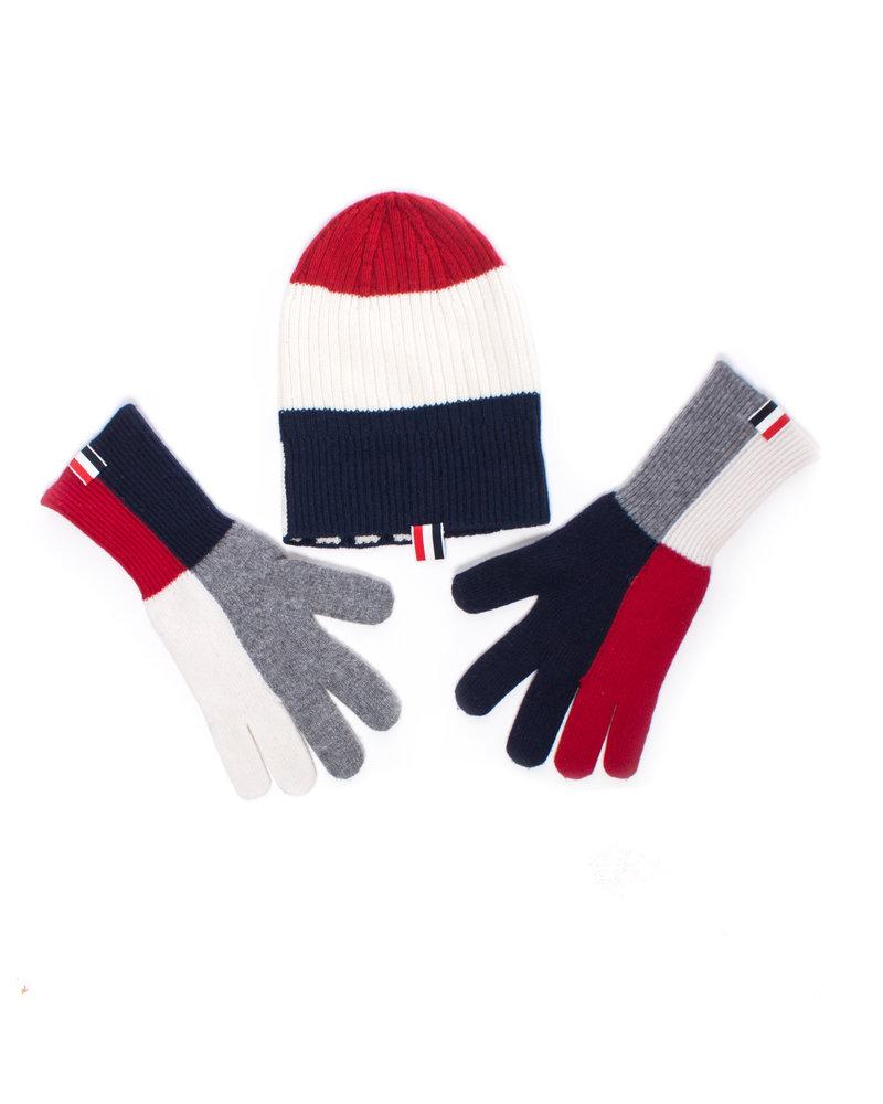 Thom Browne, cashmere muts en handschoenen in blauw/rood/wit/grijs.