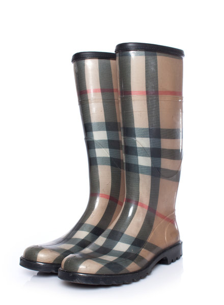 Burberry Burberry, Brown checkered rainboots in size 36.
