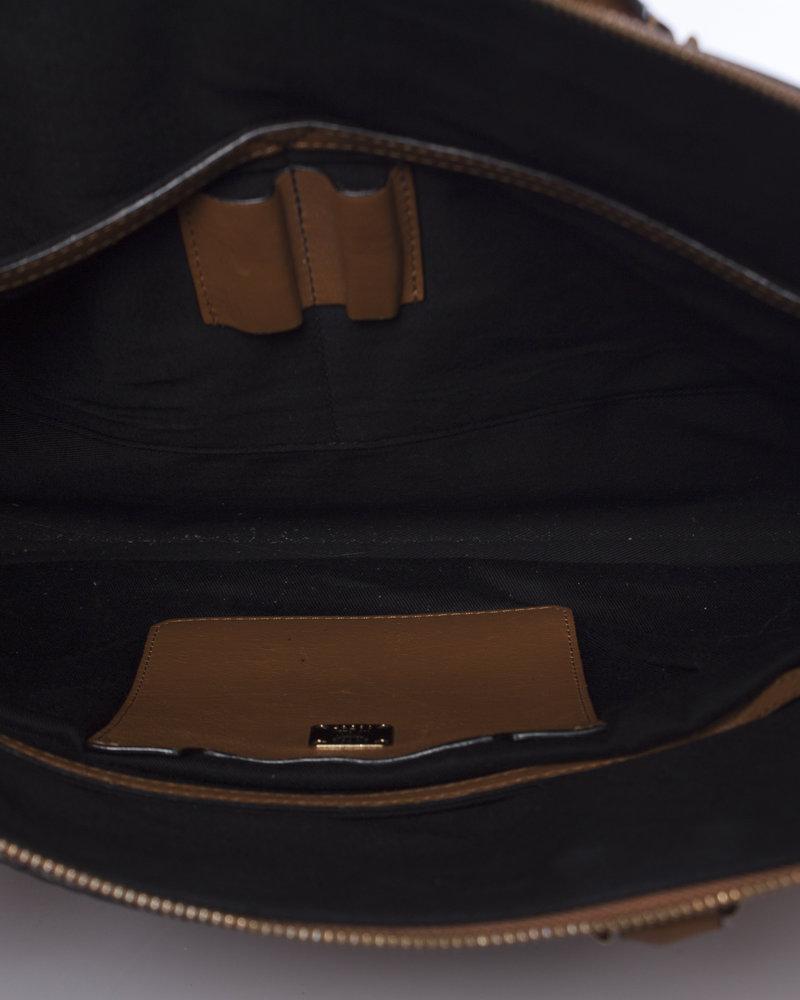 MCM MCM, cognac heritage laptop bag with gold coloured hardware.