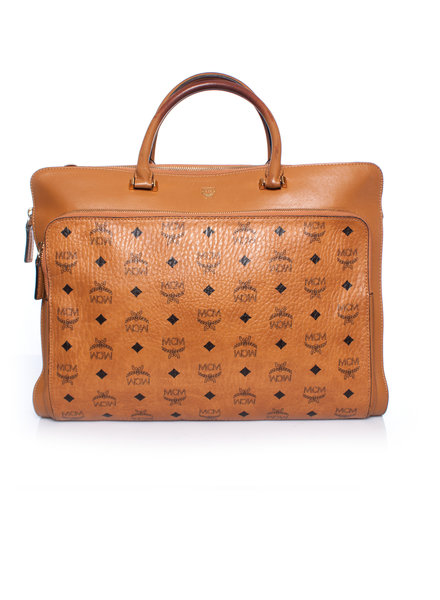 MCM MCM, cognac heritage laptop bag with gold coloured hardware.