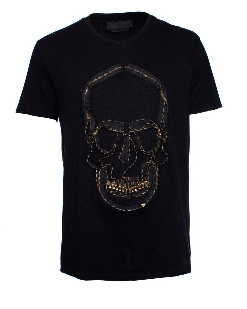 Alexander McQueen Alexander McQueen, T-shirt met rits schedel van jersey in maat XL.