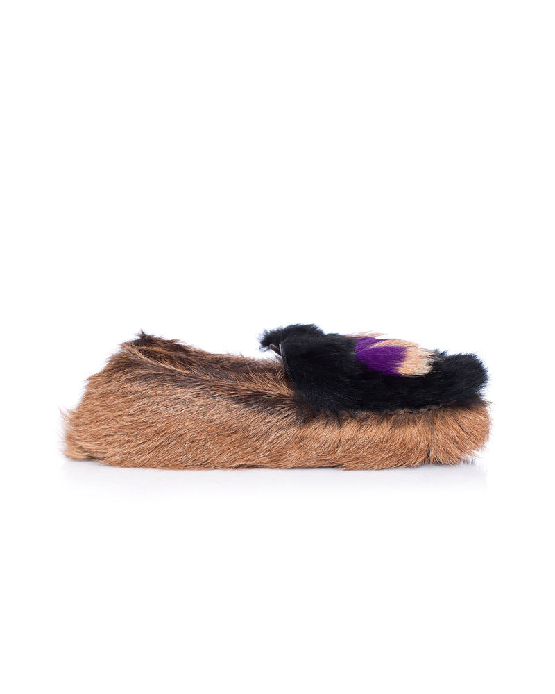 Prada Prada, Chèvre Mont Goat fur Tassel loafers in brown.