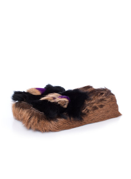 Prada Prada, Chèvre Mont Goat fur Tassel loafers in brown in size 39.