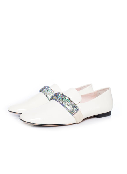 Christopher Kane, Embellished leather loafers in size 39.5.