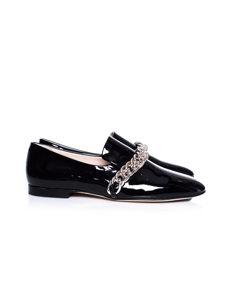 Christopher Kane, Black patent leather DNA chain loafers.