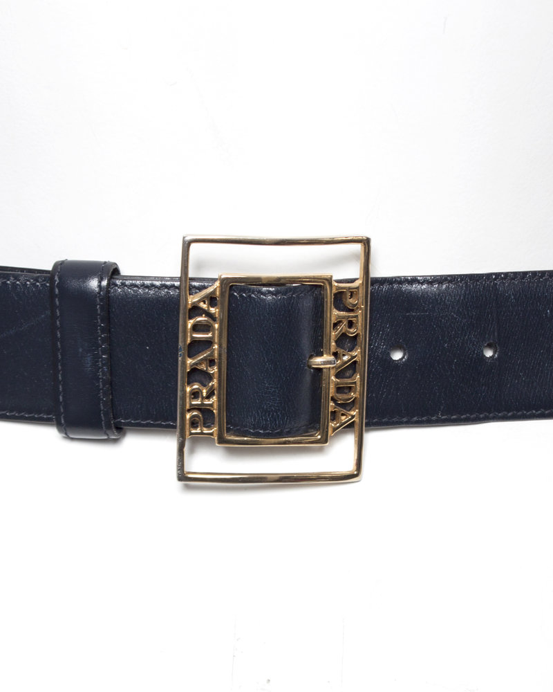 Prada Prada, vintage dark blue leather belt.
