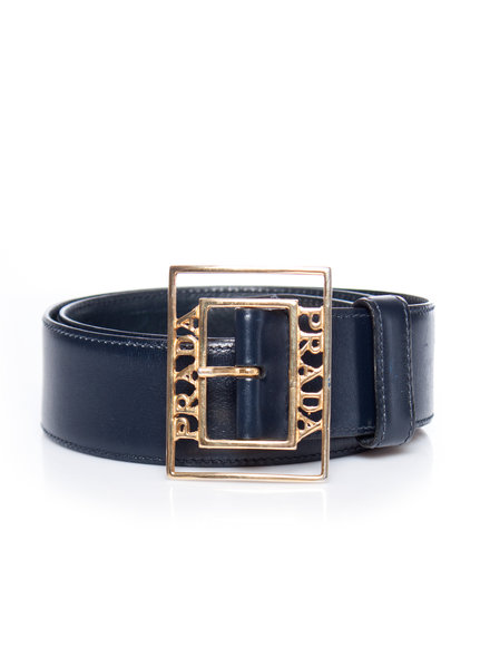 Prada Prada, vintage dark blue leather belt with Gold brand name buckle in size 75/S.