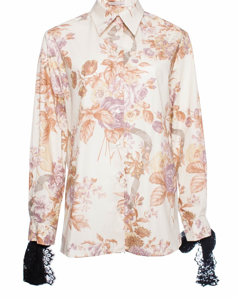 Christopher Kane, Valence print shirt with lace.