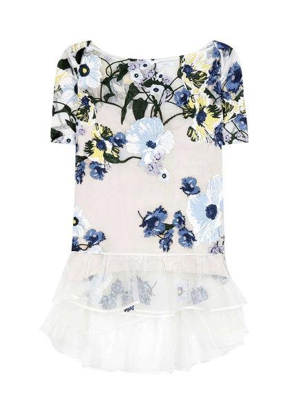 Erdem, noelle embroidered silk-organza top