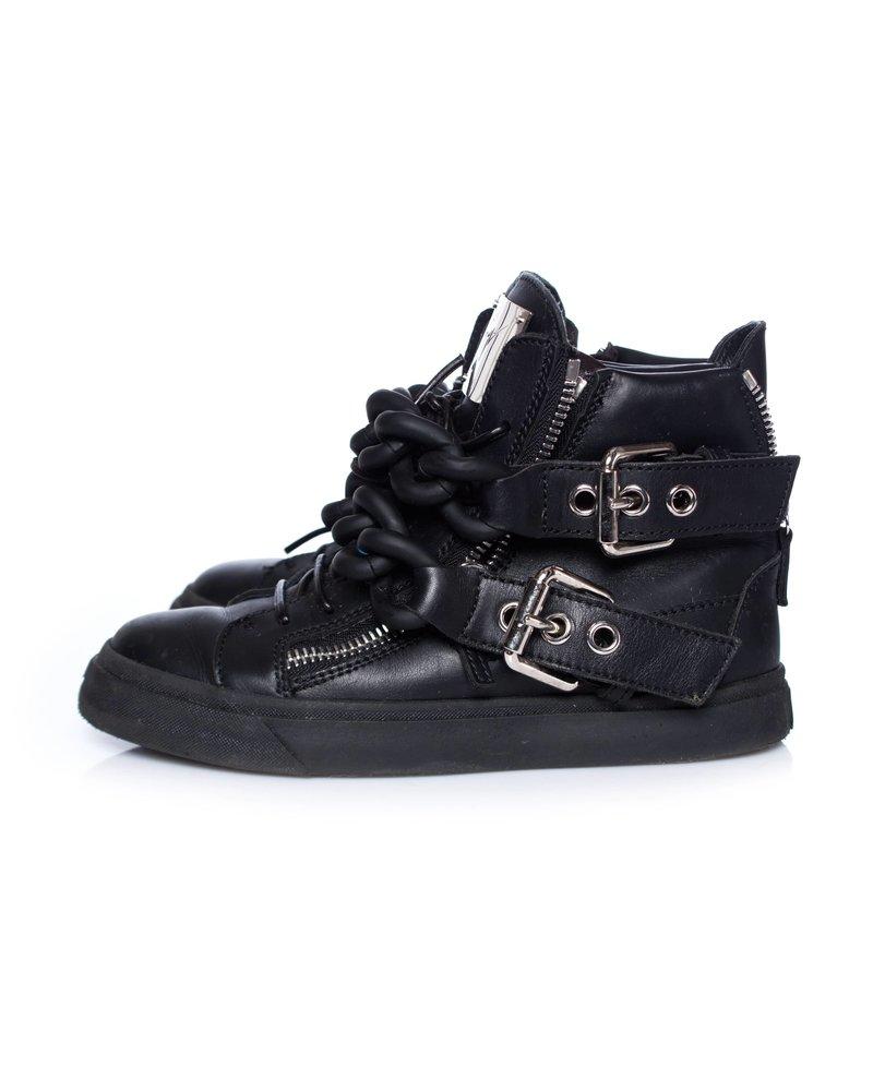 Giuseppe Zanotti Giuseppe Zanotti, Black Double Chain Leather High Top Sneakers.