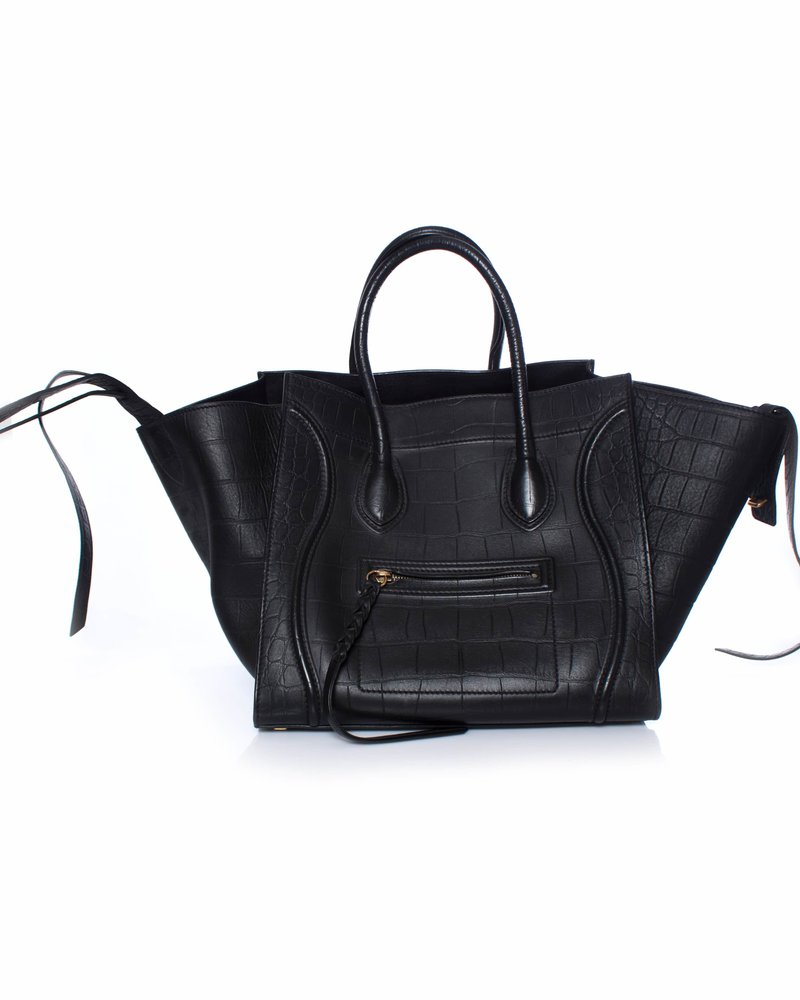 Celine Celine, Croc Stamped Phantom Luggage Tote.