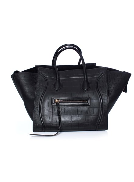 Celine Celine, Croc Stamped Phantom Luggage Tote.
