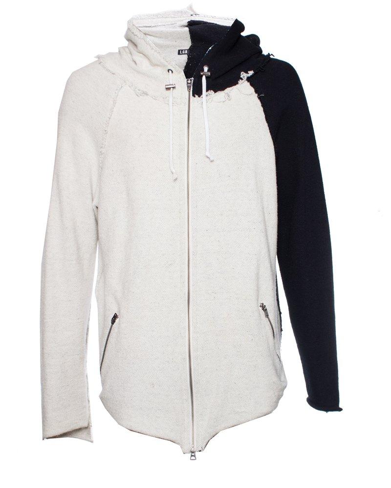 LGB, Black and white asymmetric hooded cardigan.
