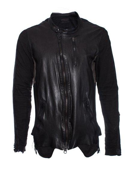LGB, Black leather biker jacket.