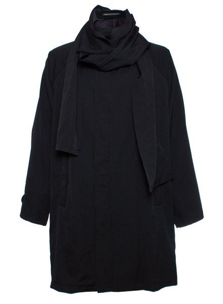 Yohji Yamamoto Yohji Yamamoto, Oversized coat with removable zip scarf.