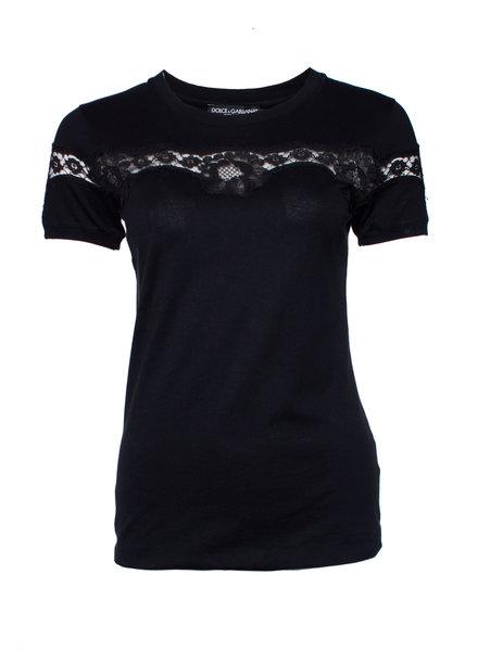 Dolce & Gabbana Dolce & Gabbana, Black T-shirt with lace