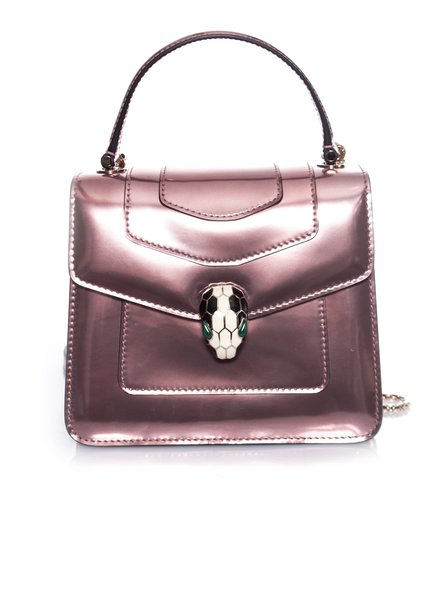 Bvlgari Bulgari, Serpenti Forever flap cover bag in rose.
