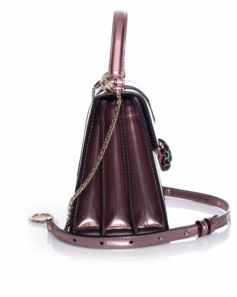 Bvlgari Bulgari, Serpenti Forever flap cover bag in rose.