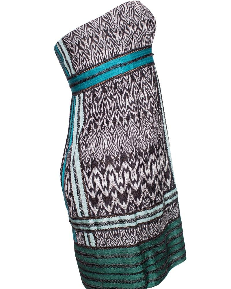Missoni Missoni, strapless dress in green tones