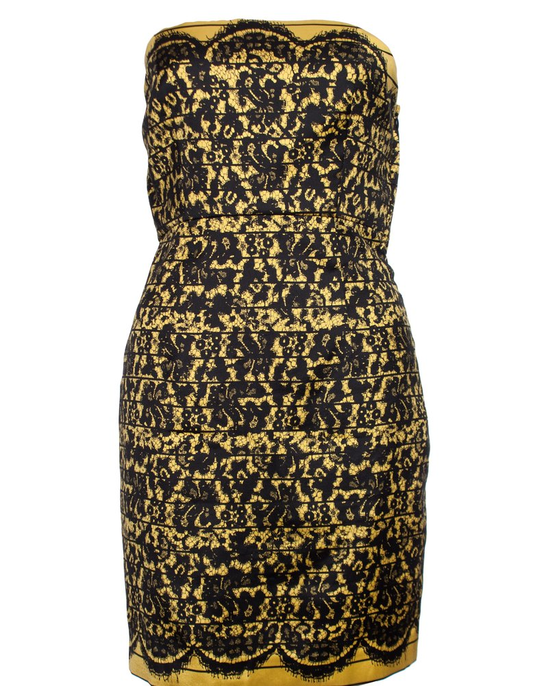Tibi, Strapless dress with lace print
