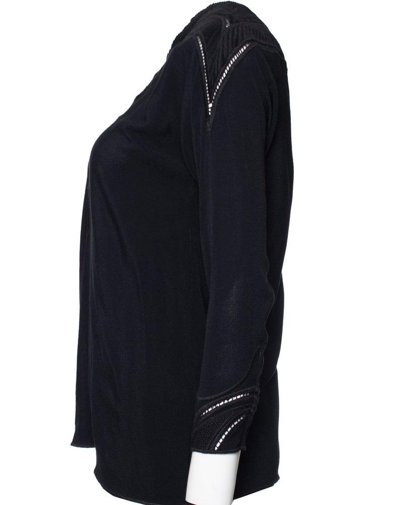 IRO IRO, black top with embroidery