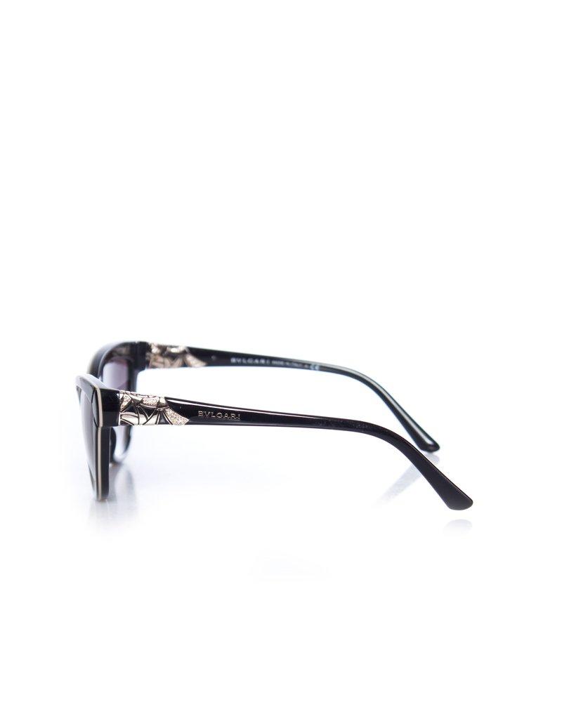 Bvlgari Bvlgari, Black cat-eye gradient sunglasses.
