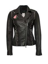 set SET, black leather biker jacket with silver studs.