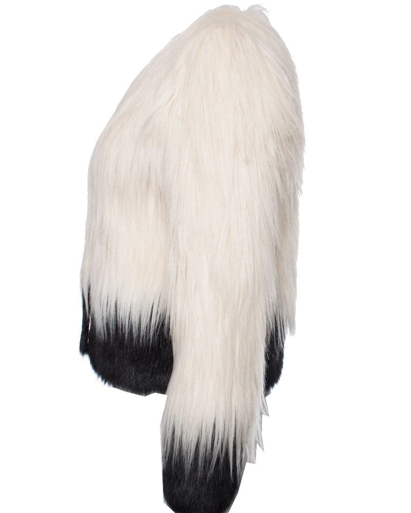 Unreal Fur, imitatie bont jasje in wit met zwart
