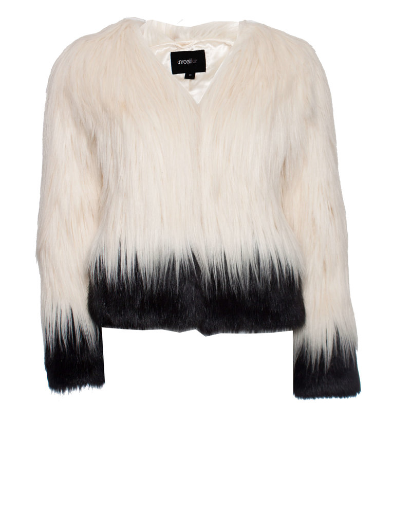 Unreal Fur, imitation fur jacket in white and black