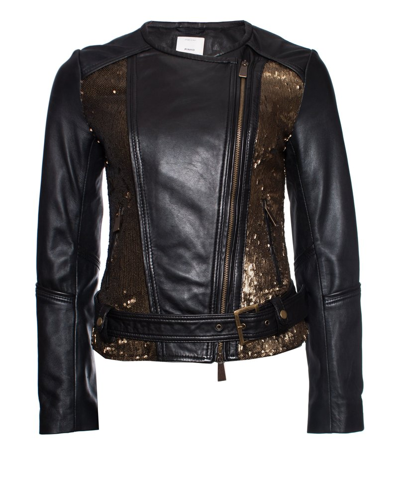 Pinko Pinko Tag, Gold sequinned leather jacket in black