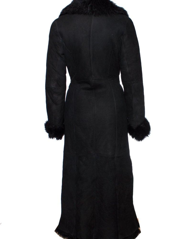 Tony Enzo, Vintage belted lammy coat in black