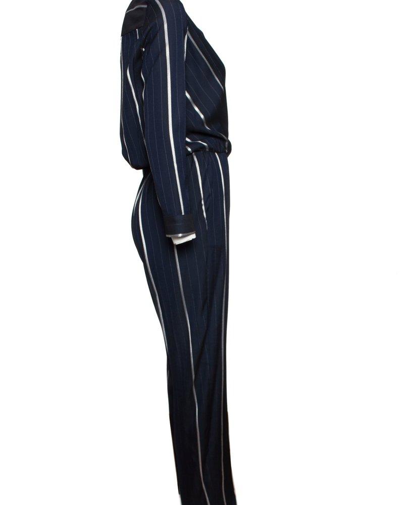 Maje Maje, blauw jumpsuit met witte strepen