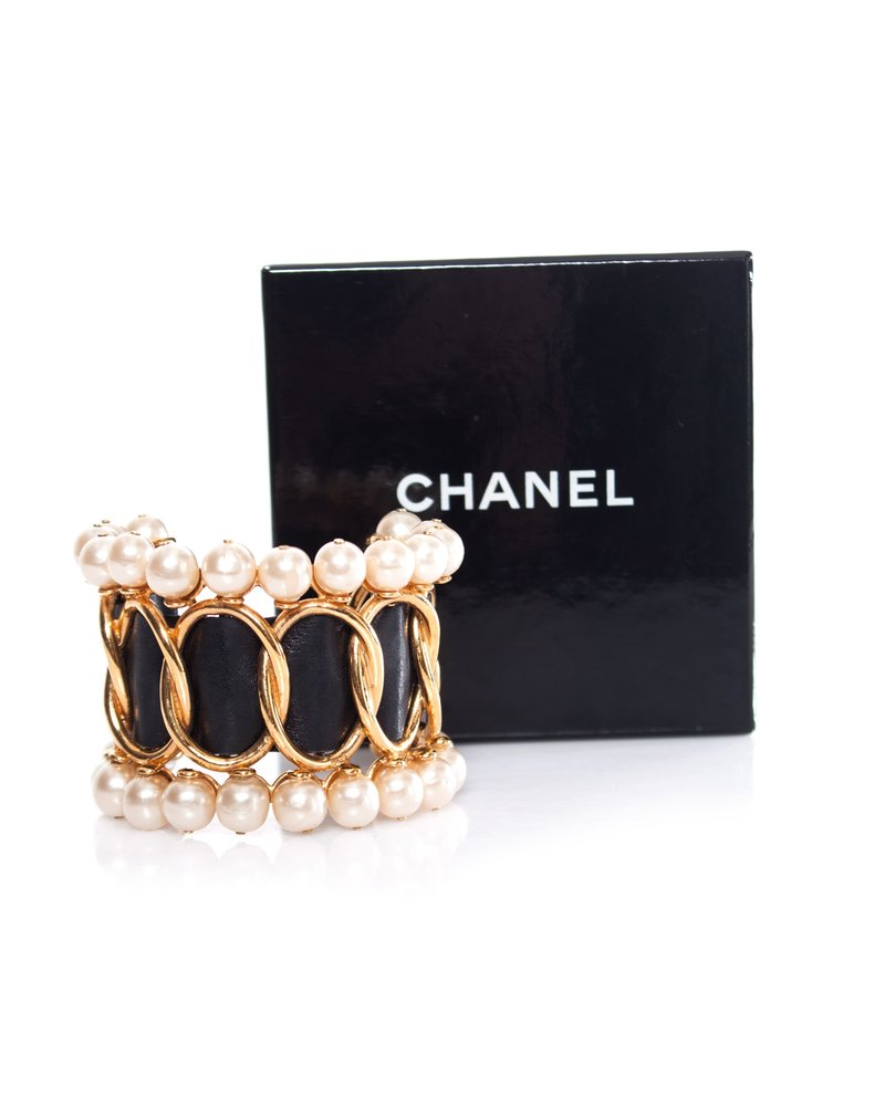 Chanel Chanel, Faux Pearl & Leather cuff.