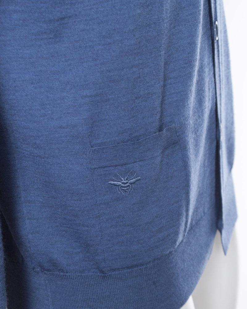 Dior Dior Homme, Blauw wol vest met steekzakken