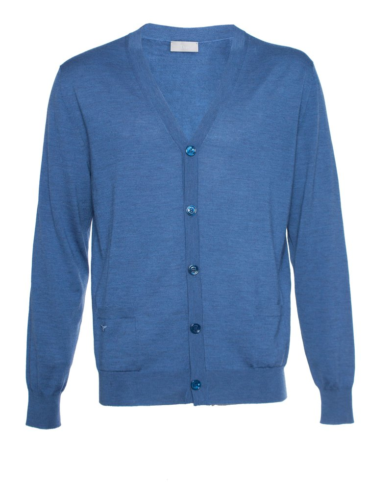 Dior Dior Homme, Blue wool cardigan with side pockets