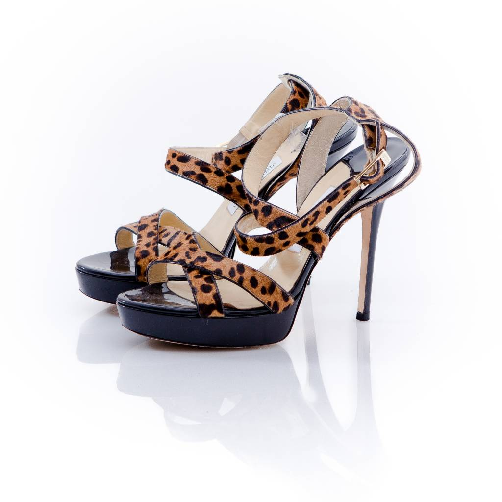 34239a27c5b9 Jimmy Choo Jimmy Choo, black sandal with crossover straps in leopard ...
