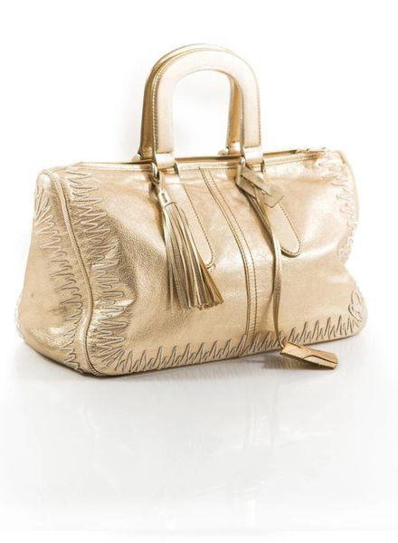 Yves Saint Laurent Yves Saint Laurent, gold leather bag.