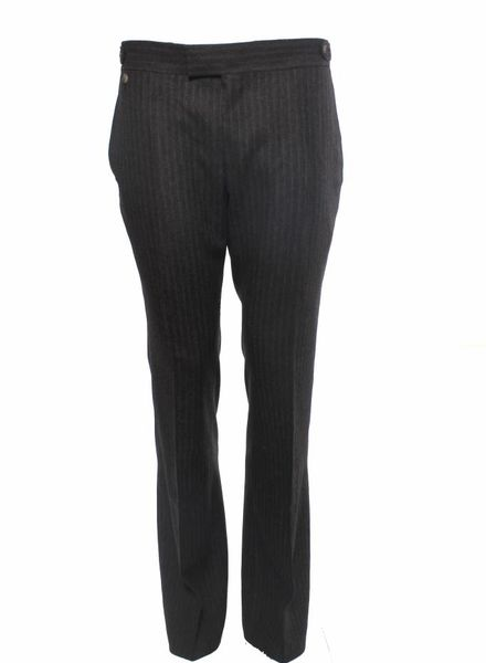 Yves Saint Laurent Yves Saint Laurent, brown flair pants with grey pinstripe.