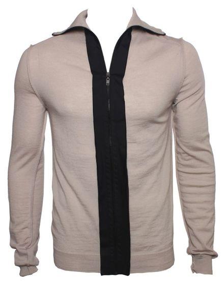 Lanvin Lanvin. beige cardigan with black zip revert.