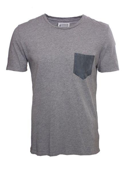Martin Margiela Martin Margiela, light grey T-shirt with checked pocket.